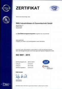 RWU Zertifikat ISO2015